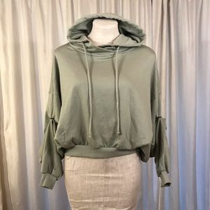 YFB S/M Oversized Hoodie Sweatshirt Ruched Green